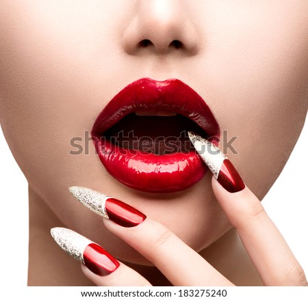 Red Long Nails And Red Glossy