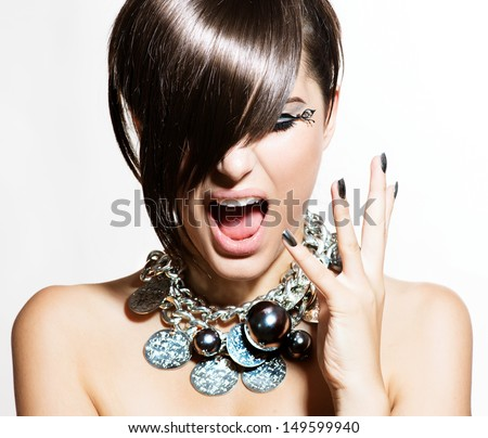 Fashion Model Girl Portrait. Excited Woman. Emotions. Trendy Hair Style and Manicure. Fringe. Haircut