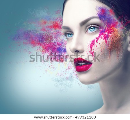 Fashion model girl portrait with colorful powder make up. Beauty woman bright color makeup. Close-up of Vogue style lady face, Abstract multicolor make-up, Art design. Makeup Pigment powder explosion #499321180