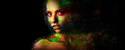Fashion model girl portrait with colorful powder make up Beauty woman with bright color makeup Close-up lady face Abstract colourful make-up Art design. Black background. Copy space. Photoshop Effects