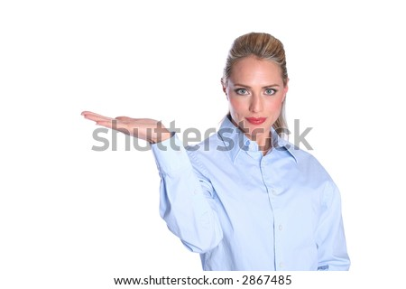 Fashion Model Holding out Hand to Insert an Object or Product for design work