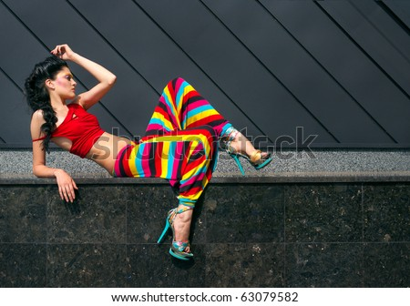 Fashion model in colorful outfit