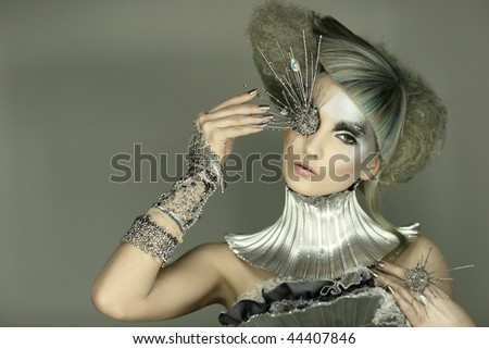 fashion model in expression dress and hair