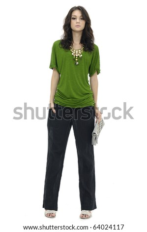 fashion model in modern clothes hold purse posing