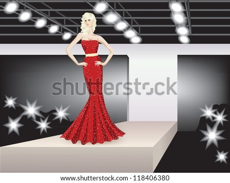 fashion model representing collection on podium
