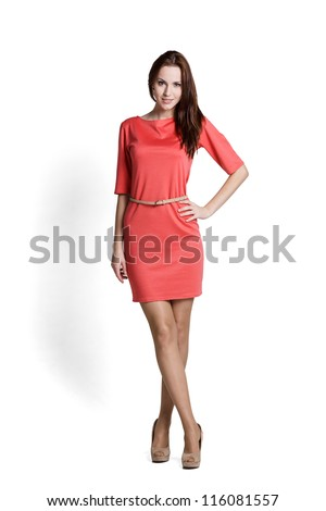 Fashion model wearing red dress with emotions