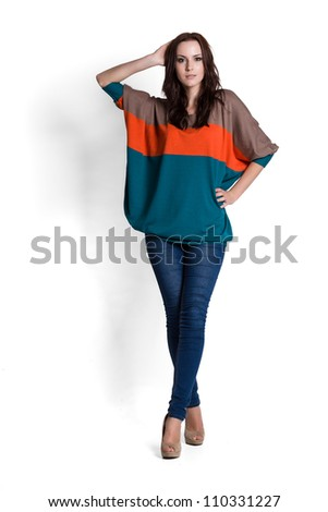 Fashion model wearing sweater with emotions