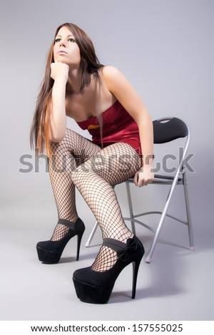 fashion model with long sexy legs