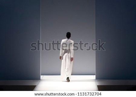 Fashion models on a catwalk during runway show. #1131732704