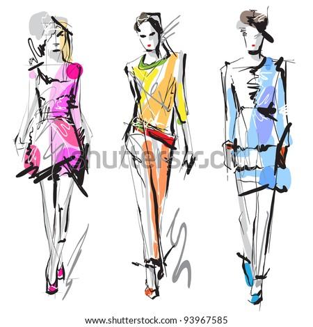 Fashion models. Sketch. Raster version