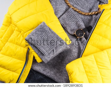 Fashion outfit gray turtle neck with yellow winter jacket and accessories Foto d'archivio ©