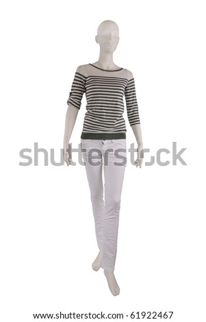 Fashion outfit on a mannequin isolated on white