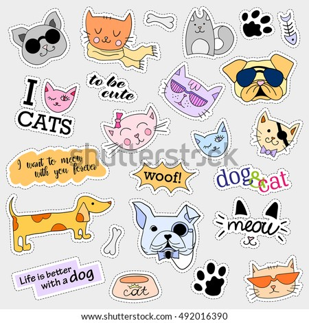 Fashion patch badges. Cat and dog set. Set of stickers, pins, patches and handwritten notes collection in cartoon 80s-90s comic style. Trend.  illustration isolated.  clip art.