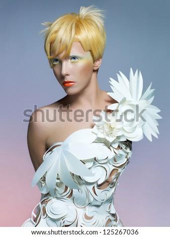 Fashion photo of beautiful lady in white dress - stock photo