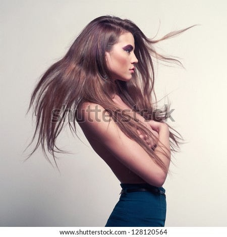 Fashion photo of beautiful lady with magnificent hair