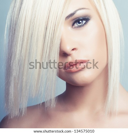 Stock Photo Fashion photo of beautiful sexy blonde with short haircut