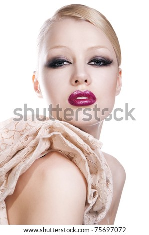 fashion photo of pretty blond woman with red lips on white background