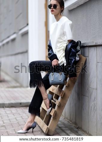 Fashion photo, Street style fashion. Professional model. - Shutterstock ID 735481819