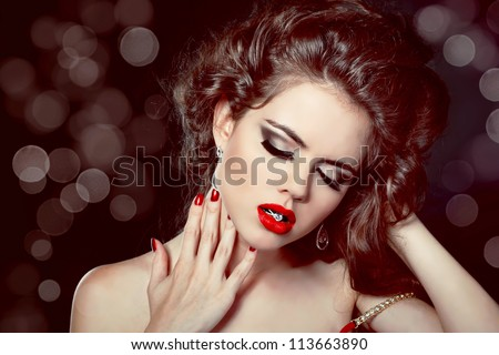 Fashion photo woman Portrait. Red Lips on glitter background.
