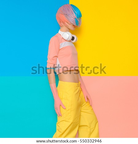 Fashion Pop art design. Minimalism. DJ Baby Sweet Vanilla party style