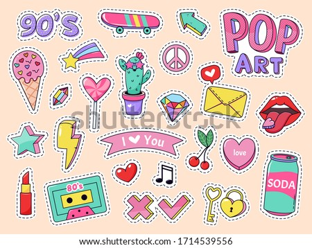 Fashion pop art patch stickers. Girls cartoon cute badges, doodle teenage patches with lipstick, cute food and 90s elements, retro sticker pack illustration icons with music cassette, lollipop