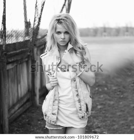 fashion portrait of a beautiful girl - stock photo