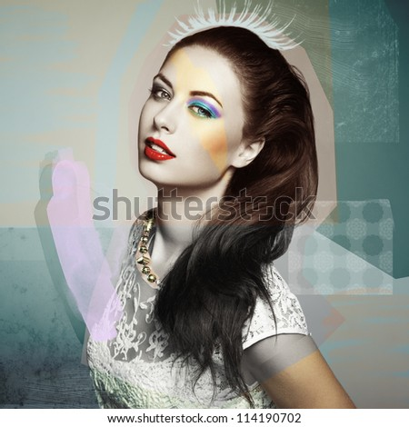 Fashion portrait of a happy young woman smiling. Fashion photo collage