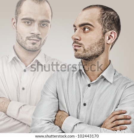Fashion portrait of adult handsome business man looking away
