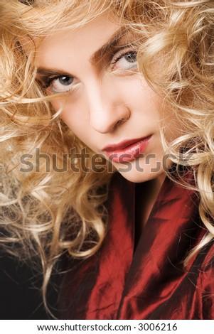 fashion portrait of beautiful blonde girl