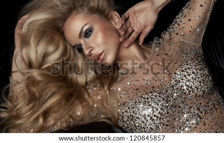 Fashion portrait of beautiful blonde woman