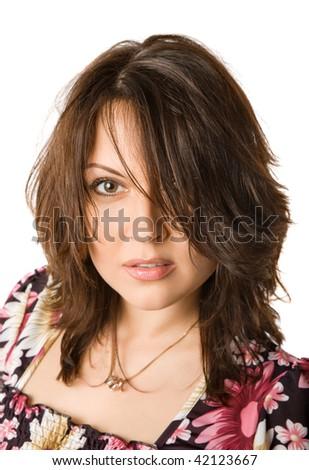 fashion portrait of beautiful  girl, isolated on white #42123667