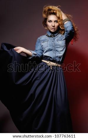 Fashion portrait of beautiful model. Studio shot - stock photo