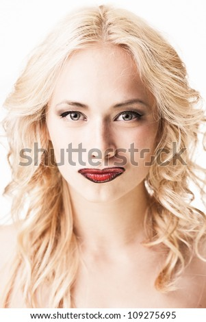Fashion portrait of gorgeous blond isolated on white