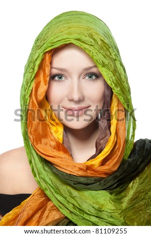 Fashion portrait of sensual woman with bright scarf over her head, isolated on white background