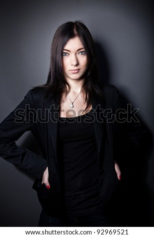 Fashion portrait of sexy girl in suit
