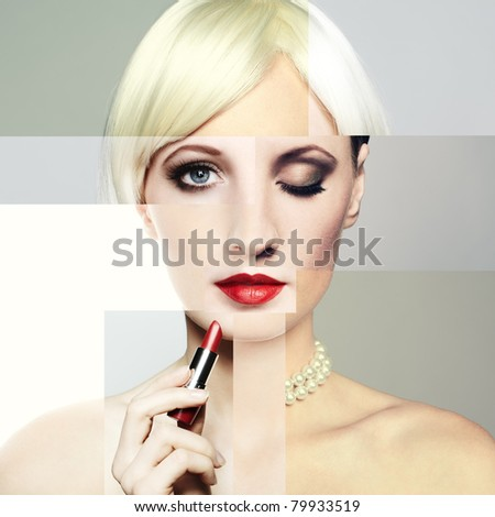 Fashion portrait of the young blonde woman with red lipstick. Conceptual collage