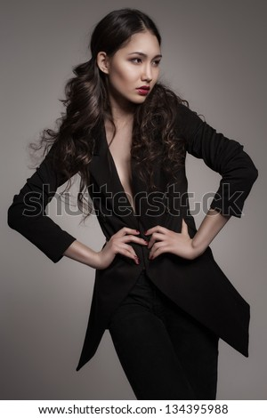 Stock Photo fashion portrait of young asian woman on dark gradient background