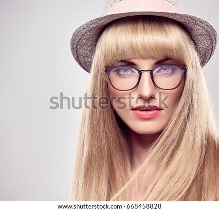 e32ebd1842db Fashion Portrait Young woman in Stylish Glasses. Sexy Blond Girl. Sensual  Beauty Model