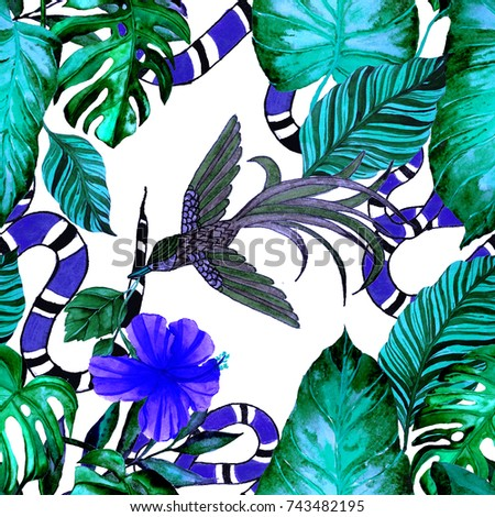 Fashion print. Watercolor seamless pattern with tropical leaves, bird, snake. Exotic background.