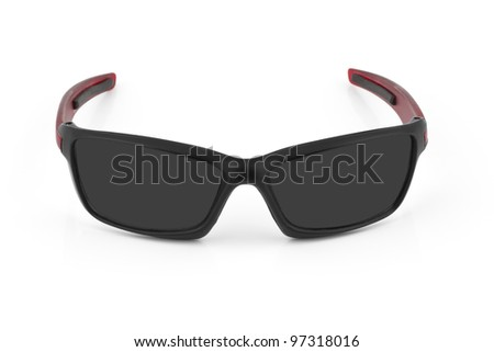 fashion red colorful sport sunglasses isolated on white background