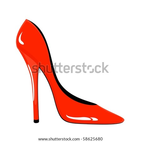 Fashion  red woman shoes on white background