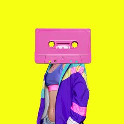 Fashion Retro Cassette Minimal art collage