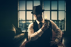 fashion retro italian mafia gangster in 1920's