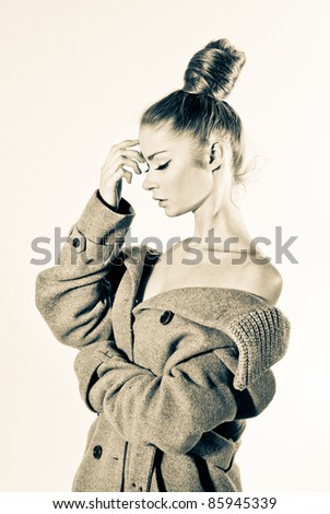 Fashion retro style portrait - stock photo