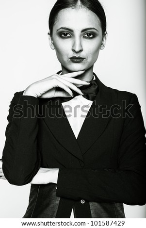 Fashion Retro Woman in a suit with a tie bow tie