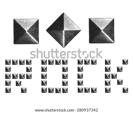 Fashion Rivets, Pyramid Metal Studs isolated on white background, music design elements