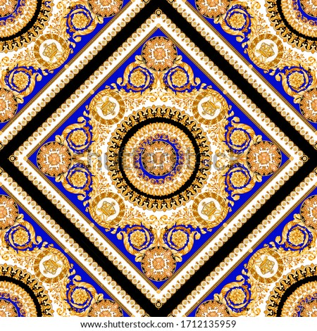 Fashion Scarf ornament baroque seamless pattern composed by gold elements on blu china and black background. Foto stock ©