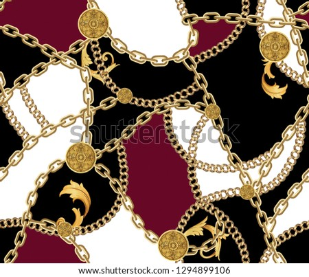 Fashion Seamless Pattern with Golden Chains on Black, Red and White Background. Fabric Design Background with Chain.