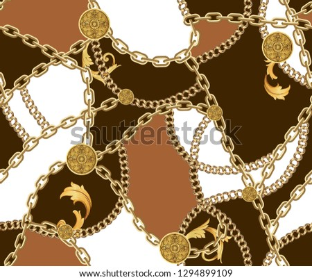 Fashion Seamless Pattern with Golden Chains on Brown, Light Brown and White Background. Fabric Design Background with Chain.