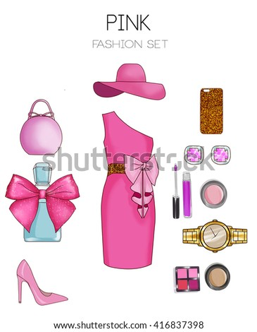 Fashion set of woman's clothes and accessories - Pink dress, bag, stilettos, cosmetics and jewelry
